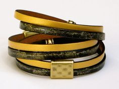 Leather Wrap Bracelet Gold Painted Leather Holiday by MaryMercedes