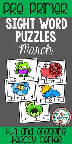This Sight Word Puzzle Packet contains 30 pages of fun, engaging pre primer sight word practice. These March puzzles are perfect for independent literacy centers in a preschool, Pre K, kindergarten or first grade classroom. Students put the puzzles together to reveal the sight word then write on the recording page. {sight word, pre primer, center ideas, Spring, St. Patrick's Day} #sightwords #literacycenters