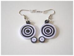 Quilling Ohrhänger Papier Schwarz Weiß Spirale von Liebeabies auf DaWanda.com