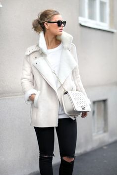"""fashionshitiscray: """"Order this amazing cheap look HERE! Mode Chic, Mode Style, Look Boho Chic, Girl Sleeves, Winter Stil, Shearling Jacket, Leather Jacket, Autumn Winter Fashion, Fall Fashion"""