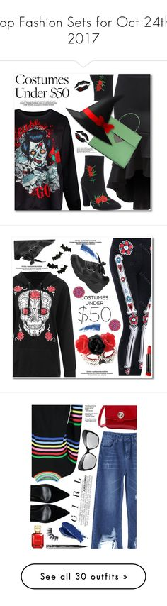 """""""Top Fashion Sets for Oct 24th, 2017"""" by polyvore ❤ liked on Polyvore featuring Coccinelle, Sweatshirt, ruffleskirt, halloweencostume, ghostprint, Meri Meri, Max Factor, Eyeko, Design Element and halloweencostumes"""