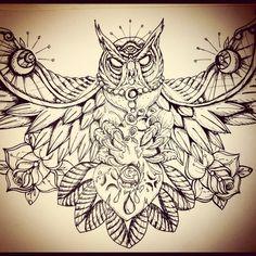 Owl Chest Piece by underlineage-designs.deviantart.com on @deviantART