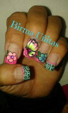 Spring Nails, Summer Nails, Rodeo Nails, Cute Nails, Pretty Nails, Fingernail Designs, Magic Nails, Butterfly Nail, Nail Art Stickers