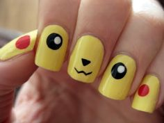 Pokemon Pikachu nail art. I might have to do this for my 8 year old, he would be so impressed with how awesome I am, lol