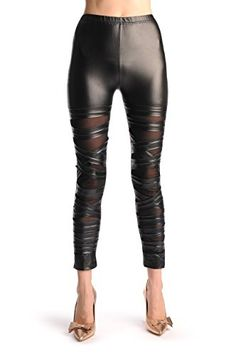 Black With Transparent Mesh  Faux Leather Front Stripes  Leggings >>> Click image for more details. (This is an affiliate link) Striped Leggings, Women's Leggings, Fashion Outfits, Womens Fashion, Leather Pants, Mesh, Stripes, Lady, Stuff To Buy
