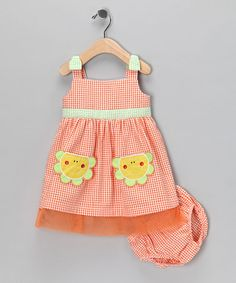 Take a look at this Orange Flower Seersucker Sundress & Diaper Cover - Infant by Baby Togs on #zulily today!