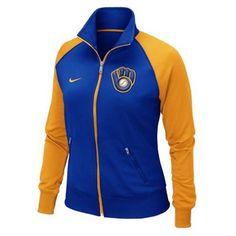 Nike Milwaukee Brewers Ladies Full Zip Track Jacket - Royal Blue/Gold