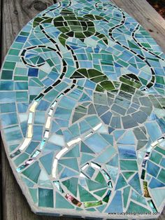 Mosaic Surfboards Waves Palm Tree Abstract And Sea Turtle Lucy Designs Tile