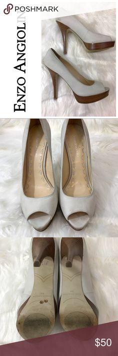 ENZO ANGIOLINI | Sully Pumps | Off White | 8.5 Excellent used condition! Great pumps for work or a casual night out. Heel 5.25, Platform 1.5, Style - Peep Toe Pump. Off white/cream tone. Please review all photos carefully. Let me know if you have any questions prior to purchase! Thank you! Enzo Angiolini Shoes Heels