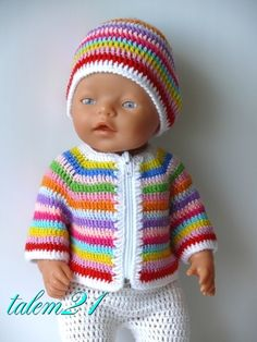 Baby Born - striped crochet sweater and cap Knitting Dolls Clothes, Crochet Doll Clothes, Knitted Dolls, Doll Clothes Patterns, Crochet Dolls, Clothing Patterns, Knitted Hats, Baby Born Clothes, American Girl Clothes