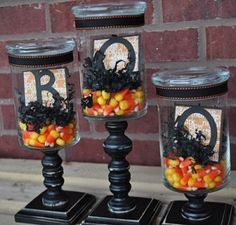 Perfect project for my old empty candle jars! Can also put in the bathroom and fill with cotton swabs and cotton balls.