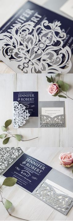 as low as $2.69 fancy navy blue and grey laser cut pocket wedding invites