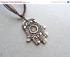 Hamsa necklace pendant, polymer clay jewelry