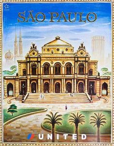 United Airlines Travel Poster Sao Paulo Brazil
