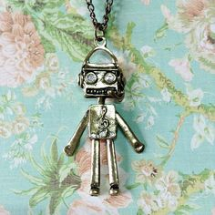 Musical Robot Necklace , Vintage Style Necklace,   Pendant Necklace, Steampunk