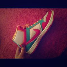 Colorful high top nikes Worn once, basically new. Make me an offer :) Nike Shoes Sneakers