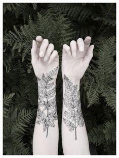 Black fern leaves forearm tattoo for men
