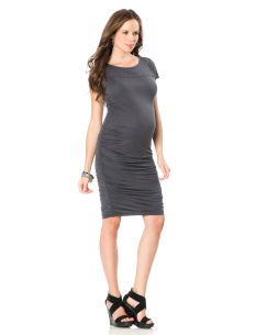 f4bc6c3966 A Pea in the Pod Short Sleeve Ruched Maternity Dress - ShopStyle