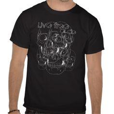 Multi-skull Live Free or Die T-shirt