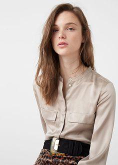 Blusa seda bolsos | MANGO