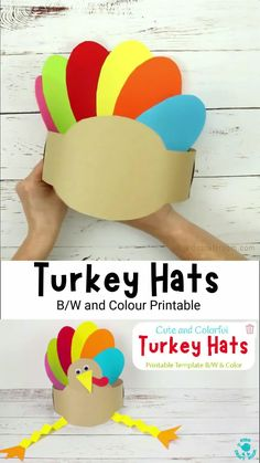 This Printable Turkey Hat Craft is so cute colorful and fun! It's a great Thanksgiving craft for the family. The printable turkey craft template comes in B/W and Full Color. #kidscraftroom #kidscrafts #thanksgivingcrafts #turkeycrafts #turkeyday Easy Thanksgiving Crafts, Thanksgiving Preschool, Easy Halloween Crafts, Easy Christmas Crafts, Printable Turkey, Printable Crafts, Hand Crafts For Kids, Diy For Kids, Hat Crafts