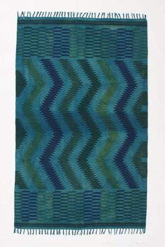 NWT Anthropologie Saturated Zigzags Rug 4 x 6 - Turquoise