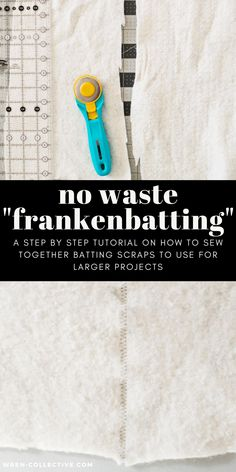 """Frankenbatting"" is the process of sewing scraps of batting together using a simple zig zag stitch. It is ideal for baby size quilts, wall hangings, quilted pillows, etc. Don't throw batting scraps away! This free quilting tutorial from Rachel of wren-collective.com helps you become a more low-waste quilter. Full color photos and instructions are included in this tutorial. #modernquilter #quiltingtutorial #freequiltingtutorial #frankenbatting #battingscraps #nowastesewing #sewyourscraps"