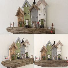 - Painted Driftwood, Driftwood Wall Art, Driftwood Projects, Clay Houses, Miniature Houses, Wooden Houses, Woodworking At Home, Woodworking Projects, Teds Woodworking
