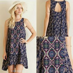 NEW !! The CHARLOTTE Dress Gorgeous dress with beautiful pattern, fully lined, Material is rayon,  Sizes S,M,L  Measurements  S Bust Measures 18 inches  M Bust Measures 19 inches  L Bust Measures 20 inches   Length measures 36 inches Boutique  Dresses High Low