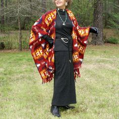 Southwestern Copper Canyon Anti Pill Fleece Poncho, Wrap, Cape, Serape or Shawl with Fringe--One Size Fits Most