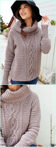 Crochet Entwined Chic Cable Sweater Free Pattern - #Crochet Women #Sweater Pullover Top Free Patterns