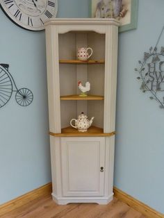 Beautiful Painted Shabby Chic Pine Corner Unit Storage Shelves Cabinet Dresser in Home, Furniture & DIY, Furniture, Cabinets & Cupboards | eBay