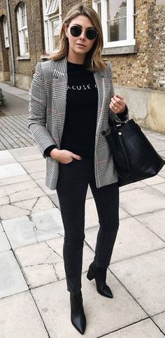 ootd | plaid blazer + bag + top + skinny jeans + boots