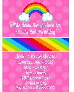 Rainbow Birthday Invitation Rainbow Birthday by TheTrendyButterfly,