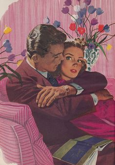 'Should we be doing this?' ~ Vintage 40s romance illustration.
