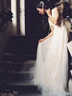 dreamy wedding dress by Samuelle Couture, heavenly hair vine from Enchanted Atelier by Liv Hart