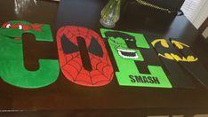 Superhero Custom Made Hand Painted Name Signs by GildedEdgeDesigns
