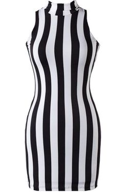Feline Felon Dress: Features a trend-right turtleneck for a body-lengthening effect, figure-flattering black and white stripes to both sides, and a sexy body-conscious silhouette to finish.