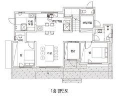 실내를 서가로 꾸민 창원 힐링 주택 : 네이버 포스트 Detached House, Floor Plans, House Design, Blue, Design For Home, Architecture Design, House Plans, Home Design, Floor Plan Drawing