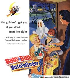Vintage Halloween Ad - Curtiss Baby Ruth and Butterfinger. Vintage Halloween Images, Retro Halloween, Vintage Halloween Decorations, Halloween Night, Holidays Halloween, Halloween Themes, Happy Halloween, Halloween Candy, Halloween Stuff