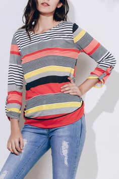 SELX Women Turtle Neck Contrast Color Loose Fit Long Sleeve Pullover T-Shirts