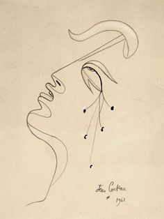 Jean Cocteau, French painting, 1889 - 1963, Profile, 1961, Pastel and pencil, 31x23cm, Signed and dated