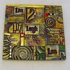 Live Laugh Love Polymer Clay Tile Mosiac. $15.00, via Etsy.