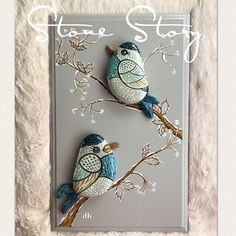 Handmade - painted stones - birds - wall decorations - rocks art