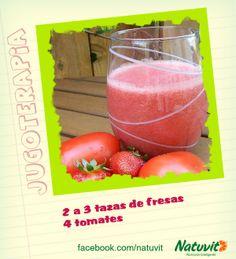 Delicioso jugo de tomate y fresa: Este jugo repleto de fitonutrientes tiene, además de propiedades desintoxicantes que te ayudarán controlar tu peso, además tiene propiedades antioxidantes.  www.facebook.com/natuvit www.natuvit.com.mx