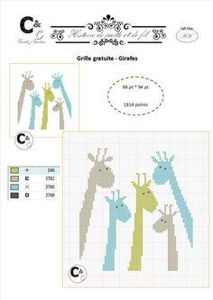 Grille gratuite - Girafes Tiny Cross Stitch, Free Cross Stitch Charts, Cross Stitch Animals, Cross Stitch Patterns, Cross Stitching, Cross Stitch Embroidery, Cross Stitch Christmas Ornaments, Easy Stitch, Tapestry Crochet