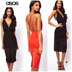 """ASOS LBD strappy open back plunge front sexy dress ASOS LBD strappy open back plunge front sexy dress US size 4.  New with tag, never worn just doesn't fit me anymore.  Such a unique cool fit and shape.  Note bottom panel is different material as pictured.  Black color only see size chart for msmts. 48"""" length. ❌🅿️🅿️❌trades pls use offer button for price negotiation. ASOS Dresses Prom"""