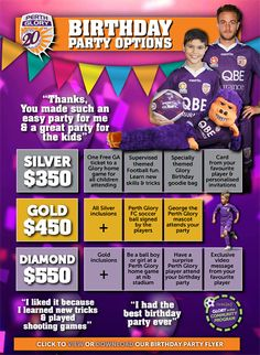 Perth Glory Football Club hosts Birthday Parties for kids. Easy soccer party idea for the boys (and girls( Soccer Birthday Parties, Soccer Party, Look Adidas, Honey Walnut Shrimp, Party Hire, How To Make Greens, How To Double A Recipe, Healthy Summer, Stress Free