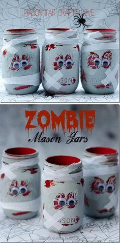 DIY Zombie Mason Jars.