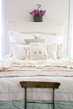 Shabby Chic linens bed, aqua ruched bedshirt, hemstitch linen (tablecloth?) duvet.